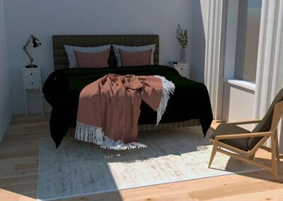 Makuuhuoneen tekstiilien suunnittelua.